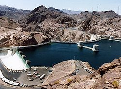 Hoover Dam and Arizona Spillway, 1983.jpg