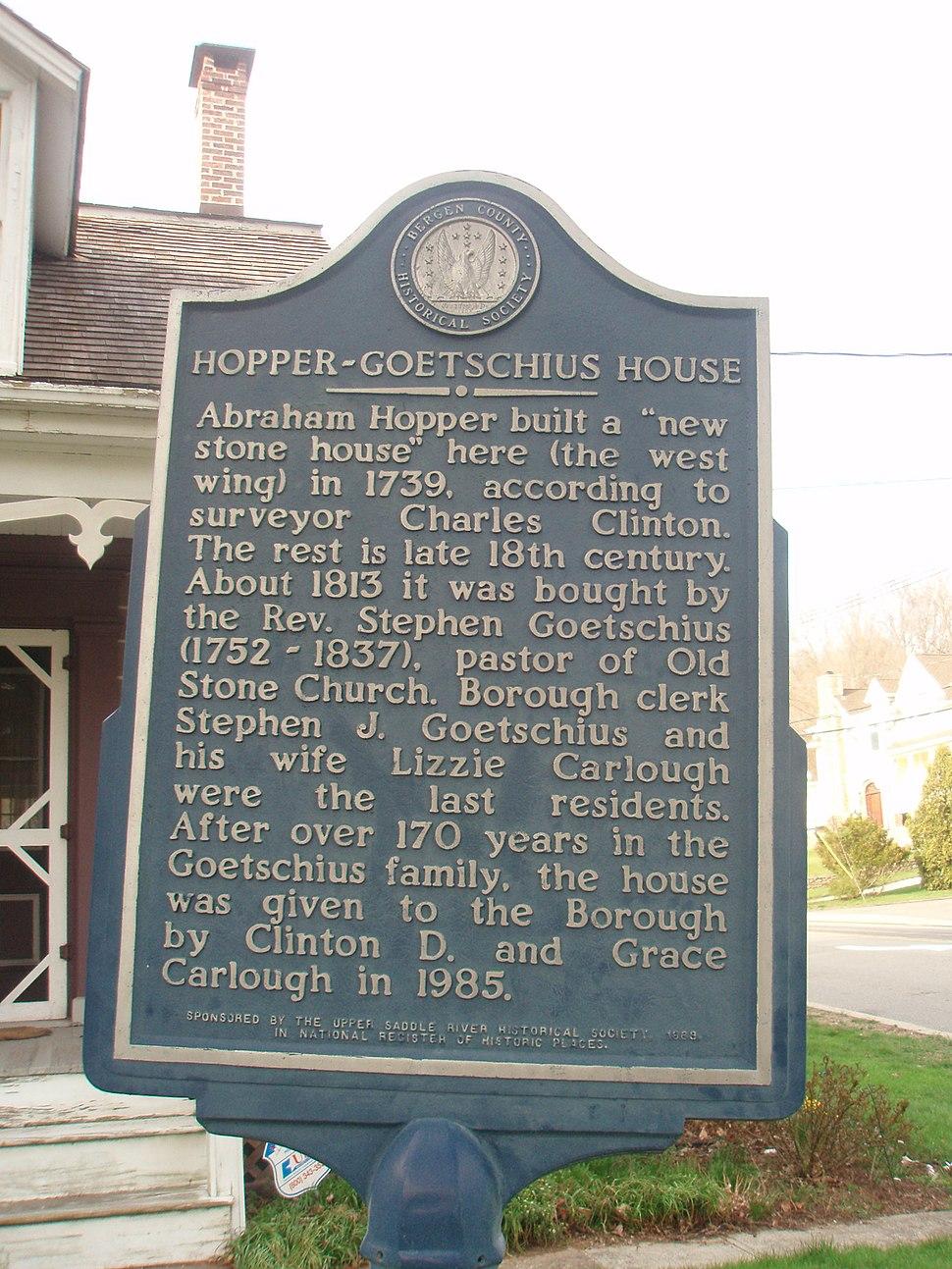 Hopper Goetschius House Marker