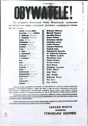 Jarosław - Hostages list of Jarosław 1939