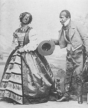 Theater of the United States - Minstrel show performers Rollin Howard (in female costume) and George Griffin, c. 1855.