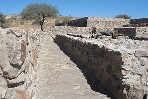 Huandacareo - Main structure platform on the background, burial area inside the right basement