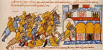 Battle of Boulgarophygon - The Magyars pursue Simeon I to Drastar, miniature from the Madrid Skylitzes note that the Magyars are named above the army Tourkoi (Turks)