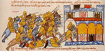 Withdrawal of the Bulgarians after an attack by the Magyars, Madrid illuminated manuscript of the Skylitz