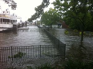 Storm surge from Hurricane Irene in Greenwich,...