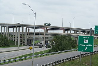 Interstate 37 - I-37 and I-410 interchange on the southeast side of San Antonio