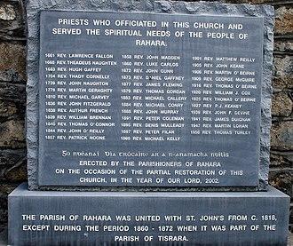 Rahara - Commemorative stone in Rahara