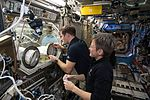 ISS-50 Peggy Whitson and Thomas Pesquet with the Microgravity Science Glovebox in the Destiny lab.jpg