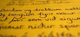 Icelandic orthography - Image: Icelandic handwriting