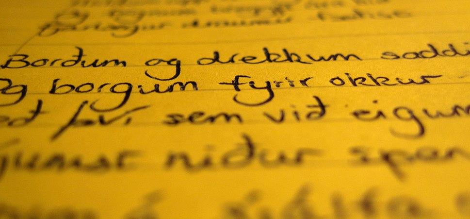 Icelandic handwriting