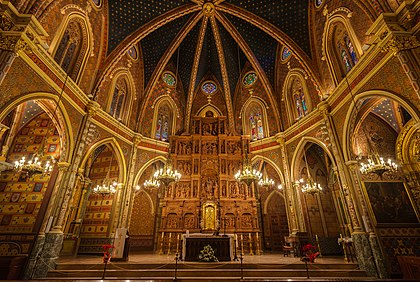 Interiér Kostela sv. Petra v Teruelu, provincie Aragón, Španělsko.