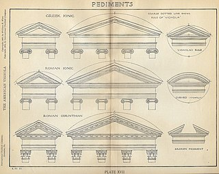 Pediment element in classical, neoclassical and baroque architecture