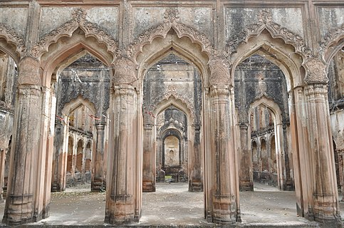 Roofless ruined Imambara inside Lucknow Residency
