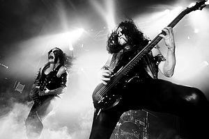 Immortal (band) - Immortal (Abbath, left, and Apollyon) performing at Hole in the Sky festival in 2011.
