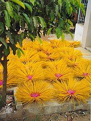 Drying cored stick incense, Vietnam