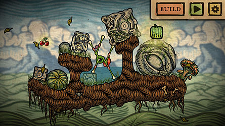 A screenshot showing a small green creature maneuvering around several stone blocks
