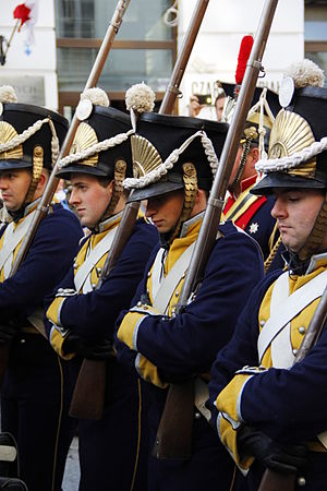 National Independence Day (Poland) - Historical reconstruction of Polish soldiers, who fought for independence in the November Uprising (1830-1831), parading along Warsaw's Royal Route