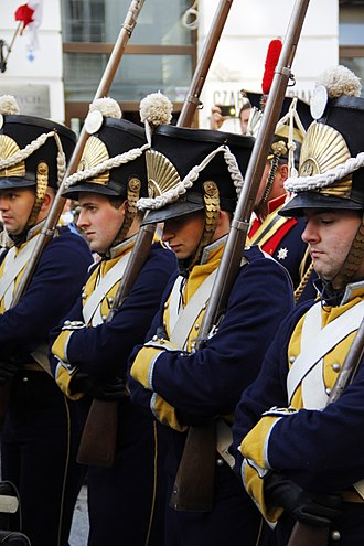 National Independence Day (Poland) - Historical reconstruction of Polish soldiers, who fought for independence in the November Uprising (1830–1831), parading along Warsaw's Royal Route