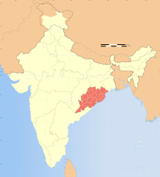 Map of India with the location of ఒరిస్సా(ఒడిషా) highlighted.