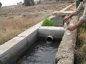 Sewage - Raw sewage arriving at a sewage treatment plant in Syria