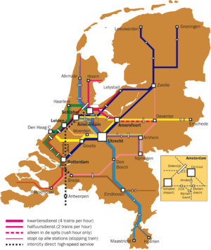 Train routes in the Netherlands - Intercity services.