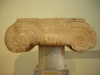 classic order similar to the Ionic order, but its capital presents a palmette between two volutes