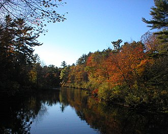 Ipswich River - The Ipswich River from a footbridge in Bradley Palmer State Park, October 2007