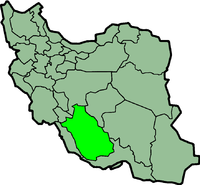 Map of Iran with फ़ार्ज़ highlighted.