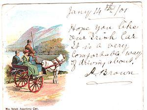 Jaunting car - On postcard (1901)