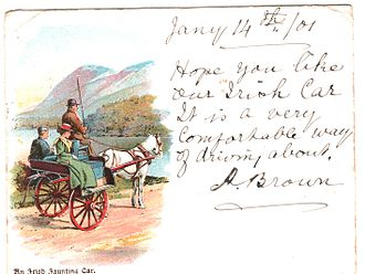 Jaunting car - On postcard (1901)