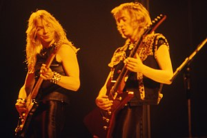 Dave Murray (musician) - Murray (left) performing with Adrian Smith in 1982.