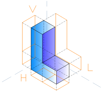 The isometric projection of an L shape 3D figure