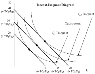 Expansion path - Isocost v. Isoquant Graph. Each line segment is an isocost line representing one particular level of total input costs, denoted TC, with PL being the unit price of labor and PK the unit price of physical capital. The convex curves are isoquants, each showing various combinations of input usages that would give the particular output level designated by the particular isoquant. Tangency points show the lowest cost input combination for producing any given level of output. A curve connecting the tangency points is called the expansion path because it shows how the input usages expand as the chosen level of output expands.