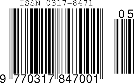 ISSN encoded in an EAN-13 barcode with sequence variant 0 and issue number 5 Issn barcode.png
