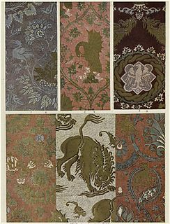 Damask Reversible figured fabric of silk, wool, linen, cotton, or synthetic fibres, with a pattern formed by weaving