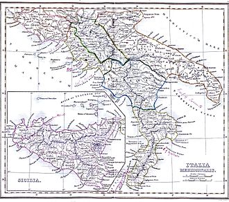 Geography of Italy - Image: Italy South 1849