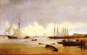 Fishing industry in Russia - Fishing vessels off a jetty, believed to be Kostroma (Russia) Oil on canvas, 1839, by Anton Ivanov