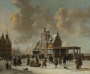 Het Paalhuis en de Nieuwe Brug te Amsterdam in de winter