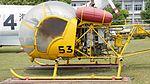 JMSDF Kawasaki Bell 47G-2A(8753) fuselage section left side view at Kanoya Naval Air Base Museum April 29, 2017.jpg