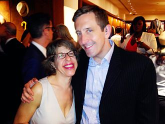 Jackie Hoffman - Hoffman at the Wall Street Journal's Tony Awards party with Brian Doherty of the AICP