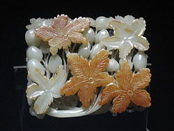 Chinese Jade ornament with flower design, Jin Dynasty (1115-1234 AD), Shanghai Museum.