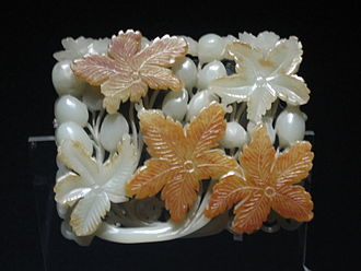 Chinese jade - Jade ornament with flower design, Jin Dynasty (12th or 13th century), Shanghai Museum.