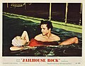 "Jailhouse Rock (1957 lobby card - ""romance in a swimming pool"").jpg"