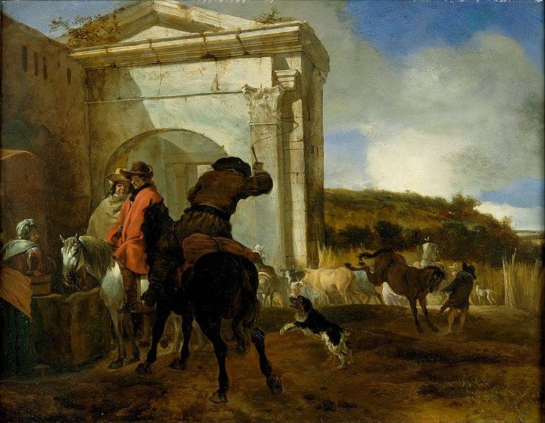 File:Jan Baptist Weenix - Italian Landscape with Horsemen by a Spring - Google Art Project.jpg