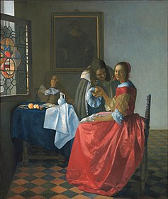 Woman with a wine glass, by Johannes Vermeer (1659–60). Vermeer used different shades and tints of vermilion to paint the red skirt, then glazed it with madder lake to make a more luminous color.
