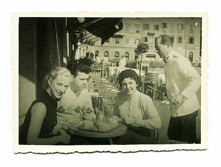 Anna Moffo (right) with Janet Cox-Rearick Waldman (left) at a cafe in Rome in 1954, when both were Fulbright Fellows in Italy Janet Cox-Rearick Waldman with Tom Fitzpatrick and Anna Moffo Rome 1954.jpg