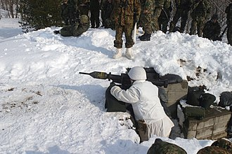 Panzerfaust 3 - A JGSDF soldier in winter gear prepares to fire an IHI Aerospace 110mm anti-tank weapon in Forest Light 2004.