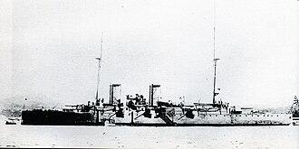 Protected cruiser - Image: Japanese cruiser Izumi at Sasebo 1908