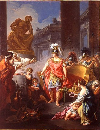 "Gordian Knot - Alexander Cutting the Gordian Knot"" (1767) by Jean-François Godefroy"