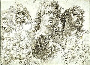 Jean-Pierre Rivalz - Caricatures and studies of heads, Musée du Louvre