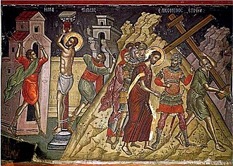 Passion of Jesus - Icon of the Passion, detail showing (left) the Flagellation and (right) Ascent to Golgotha (fresco by Theophanes the Cretan, Stavronikita Monastery, Mount Athos).